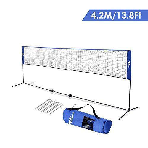 Amzdeal Badminton Netz Tragbares Volleyball- und Tennis- Netz mit Verstellbaren Höhen faltbares Federballnetz Outdoor Trainingsnetz (Blau) -