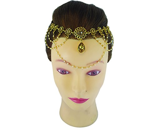 MATHA PATTI HEAD ACCESSORY BUN PIN BELLY DANCE INDIAN JEWELLERY HEAD CHAIN PASSA WEDDING HAIR DECOR BOLLYWOOD STYLE-MPL-072G