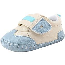 Tefamote Zapatos Botines Cuero de Suela Blanda Cuna Ocio Para Bebé Recién Nacido Niño niña (12, Azul)