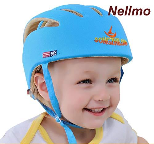 (Nellmo Baby Helm Kleinkind Schutzhut Kopf Kopfschutz Baumwollhut Kleinkind Einstellbarer Schutzhelm (Blau))