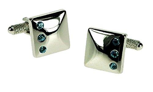 Couleur Argent boutons de manchette avec 3 Aqua cristaux boutons de manchette en boîte cadeau - livrés Londres ck467
