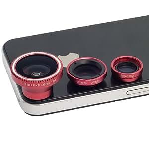 3 in 1: wide angle lenses + macro kit fisheye photo for iPhone 4S 4G 3GS 5 5S 5C Samsung GALAXY S2 I9100 S3 S4 I9300 i9500 I9220 I9600 Note2 Note3 N7100 N9000 HTC Nokia (Red)