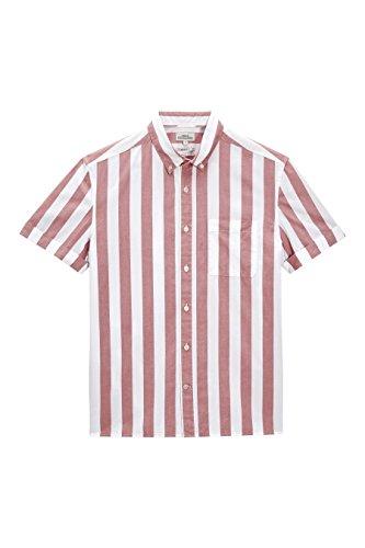 next Herren Gestreift Normale Passform Hemd Baumwolle Herrenhemd Freizeithemd Rosa