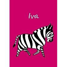 Iva: personalisiertes Malbuch / Notizbuch / Tagebuch - Zebra - A4 - blanko