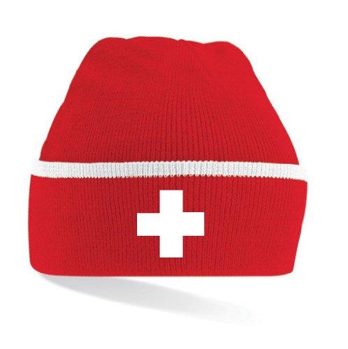 world-of-Shirt Schweiz / Suisse Kreuz Strickmütze Mütze|gestreift