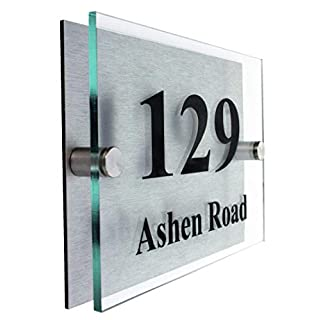 Premier Quality,Glass Look Acrylic | Choice of Fonts |10 Year Guarantee |. Personalised House number Signs | 2 Part Acrylic