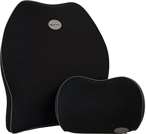 Foto de Cojín de respaldo lumbar para coche & juego de almohada de cuello reposacabezas para coche - Travel Ease cojín de asiento para coche de dieño ortopédico de espuma de memoria para alivio de dolor de espalda (Negro)