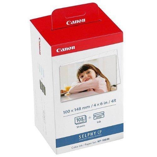 Canon Fotopapier für Canon Selphy CP 810, 108 Blatt A6 Photo, Color Ink Paper Set, 100x148 mm, CP810