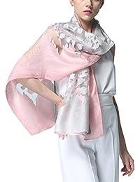 Bestfort Echarpe Foulard Femme Ajouré Couleur de Dégradé Anti uv Coloré En  Soie Coton Laine Grand 884a0b0d079