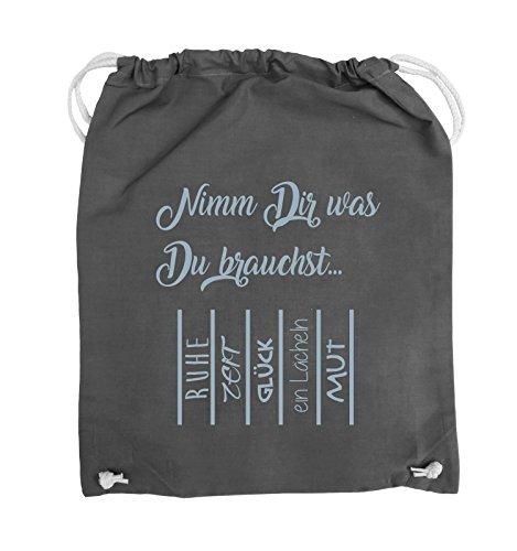 Comedy Bags - Nimm Dir was Du brauchst - ABREIßZETTEL - Turnbeutel - 37x46cm - Farbe: Schwarz / Silber Dunkelgrau / Eisblau
