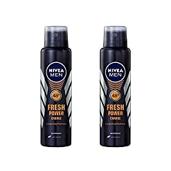 2 Lots X Nivea Male Deodorant Fresh Power Charge, 150ml