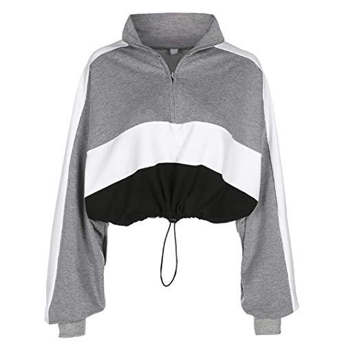 Webla Frauen Langarm Pullover Damen Kapuzenpullover Sweatshirt Bluse Crop Tops Patchwork Shirt (S, Grau)