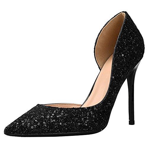 Bout Degrade Femme 41 Soirée Escarpin Noir Chaussure 42 Élégant Talon  Paillette Aiguilles Sandales 40 Doree Wealsex Mariage Bal Pointu Haut B18q4 66290f30d299