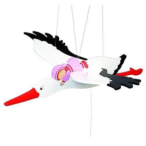 Goki 52929 Schwingtier Storch mit Baby