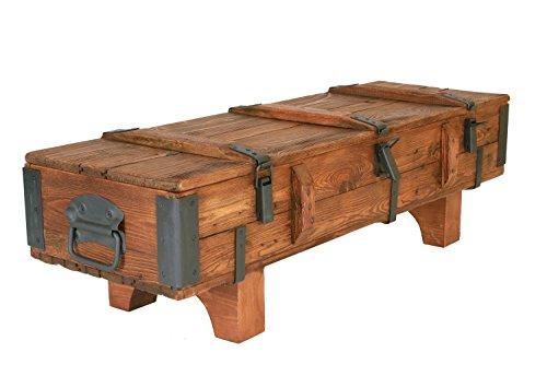 Coffre de Voyage en bois ancien Table Basse de Campagne hauteur 38 cm, profondeur 41 cm, largeur 120 cm