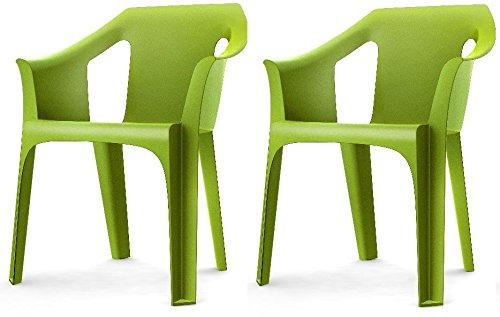 Resol 'Cool' Garden Outdoor / Indoor Designer Plastic Chairs - Green - Garden Furniture (Pack of 2 chairs)
