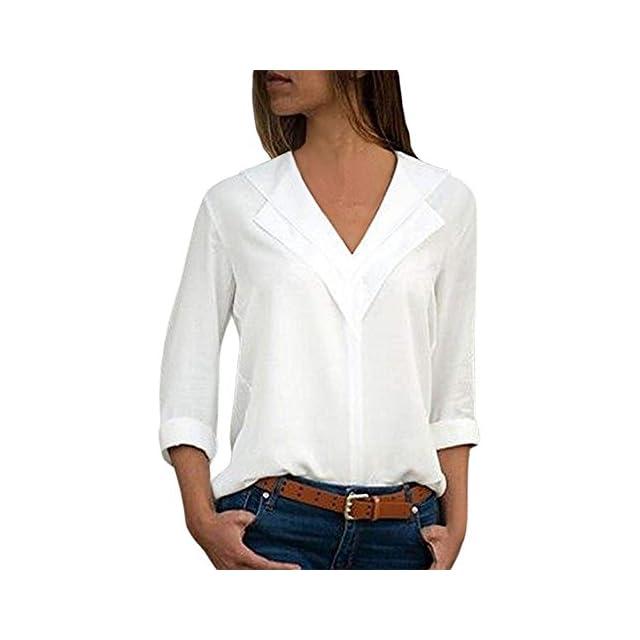 0ef934e4be38 Chemisier Chic Femme Grande Taille Blouse de Bureau Manche Longue T-Shirt  Top Hauts Tonsi ...