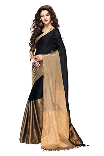Trendz Cotton Silk Saree (Tz_Vishwa_Black_Black)