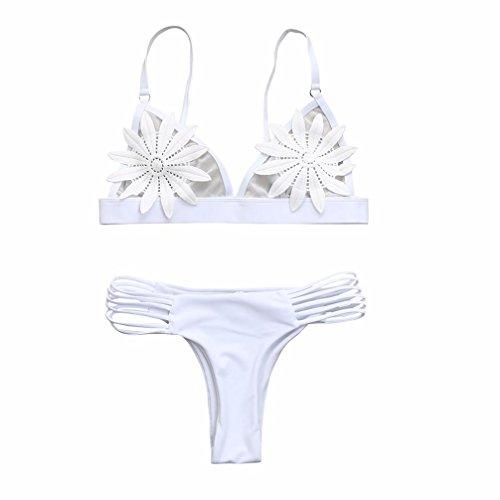 Bikini Set,Hevoiok Damen Bademode Neu Bandeau Sexy Elegant Blumen BH Badeanzug Bandge Bikinis For Mädchen Frauen (Weiß, S)