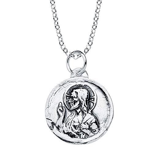 Iyé Biyé - Collar Medalla Colgante Escapulario Virgen del Carmen y Corazón de Jesús 18mm Plata de Ley 925 Cadena Rolo 40+3 cm
