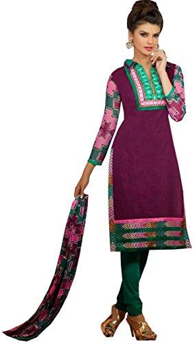 Tangerines Tfw Purple Color Unstitched Salwar Kameez Dress Material