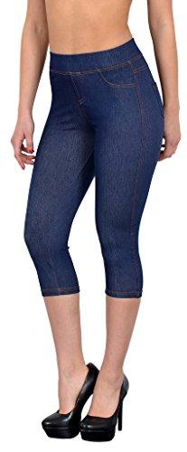 Bamboo Leggins (by-tex Damen Capri Leggings Jeanslook Jeans-Look Jeggings Damen Capri Jeans Legings Hose bis übergröße 50 - L101)