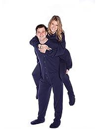 Azul marino algodón Jersey Knit adultos Footed Footie Onesie pijama w/con tapa