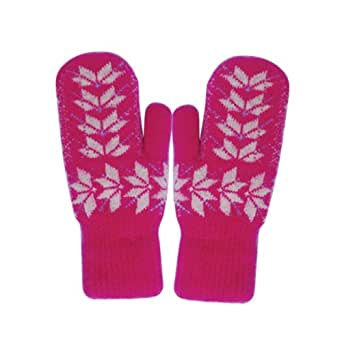 Snowflake Mittens in Pink
