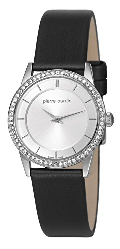 Pierre Cardin Elance Petit Women's Quartz Watch with Silver Dial Analogue Display and Black Leather Strap PC106242S01