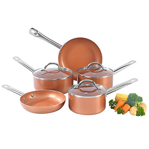 Salter BW07174AR Lot de 5 casseroles en cuivre et céramique