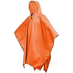 Terra Hiker Chubasquero Multifuncional 3 en 1 para Camping Senderismo, Color Naranja