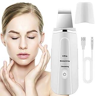 Lalafancy Dispositivo Ultrasónico de Limpieza de la Piel Facial, Skin Scrubber Exfoliador Limpiador de poros USB 3 Modos Máquina de Anión para Cuidado de la Piel