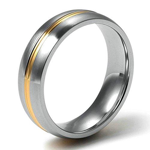 Aooaz Schmuck Herren Ring,Mitte Streifen Polieren Edelstahl Ringe für Herren Gold Silber Größe 70(22.3)