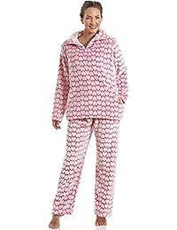 Conjunto de pijama - Forro polar suave - Estampado de corazones blancos y rosas