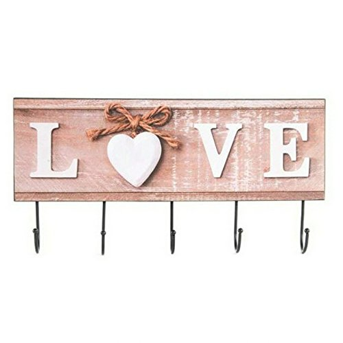 Dcasa - Perchero Pared Madera Metal Love 4 Colgador