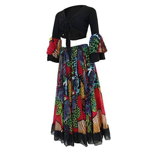 Beschreibung Flamenco Kostüm - B Baosity Damen Lange Bohemian Maxi Rock Hippie Gypsy BH Bauchtanz Kostüm Karneval Faschingskostüm - Schwarz