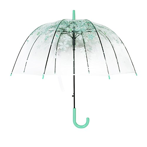 Transparenter Regenschirm - Sakura Regenschirm - Klarer Kirschregenschirm - Blumen-Blasen-Hauben-Form-Regen-Regenschirm - Halb automatischer Regenschirm für Mädchen Damen und Kinder - Dracarys