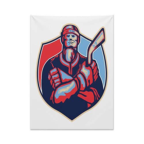 Abakuhaus Eishockey Wandteppich, Spieler, der Stock hält aus Weiches Mikrofaser Stoff Kein Verblassen Klare Farben Waschbar, 110 x 150 cm, Dunkle Koralle Hellblau und
