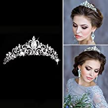 Tiara de boda Simly para novia, coronas de flores para mujer HG-23