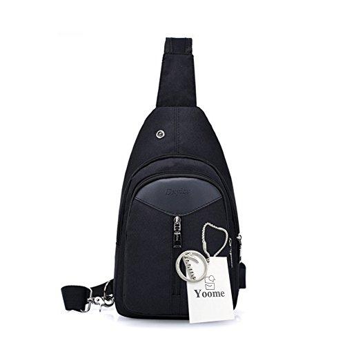 Zaino Yoome Sling con porta USB di ricarica Borsa tracolla resistente allacqua allaperto spalla pacchetto petto crossbody per le donne uomini ragazze ragazzi viaggio Daypack - nero Nero