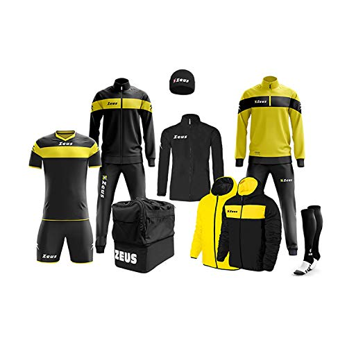 Zeus Marchio Box Apollo Komplett-Set für Trainingsanzug Relax Jacke, Strümpfe ZUCCOTTO Tasche K-Way Kit Fußball, Fußball, Home Shop Italia, Herren, Nero-Giallo, XL
