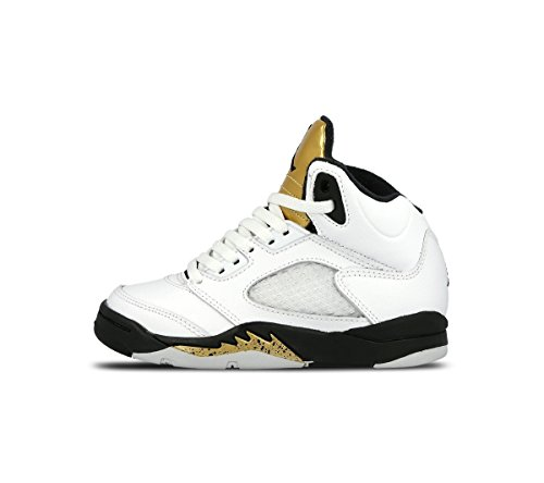 Nike Jungen Jordan 5 Retro Bp Basketballschuhe Blanco (White / Black-Mtlc Gold Coin)