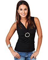 KRISP® Womens Wrap Cross Over Tops Buckle Ruched Jersey Blouse V Neck Tunic