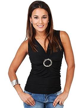 KRISP Camisas - cuello en V - Sin mangas - para mujer