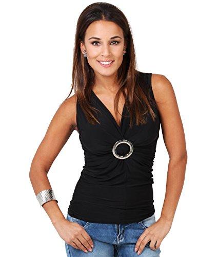 KRISP Femme Haut Bretelles T shirt Col V Bague, Noir (3593), 44