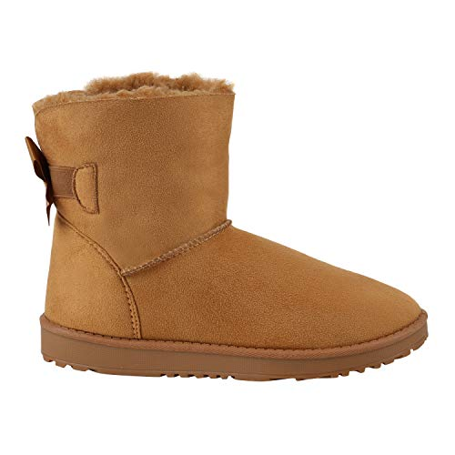 Warm Gefütterte Damen Stiefel Schlupfstiefel Boots Stiefeletten Schuhe 130007 Braun Schleife 40 Flandell