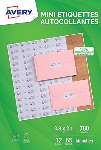 Avery 780 Etiquettes Mini Autocollantes (65 par Feuille) - 38,1x21,2mm - Blanc (J8651)