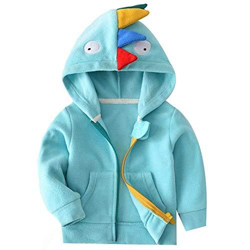 Baby Mädchen Jungen Fleecejacke KapuzenjackeÜbergangsjacke Kleinkinder Dinosaurier Frühling Herbst Jacke Reißverschluss Sweatshirts Blau 100