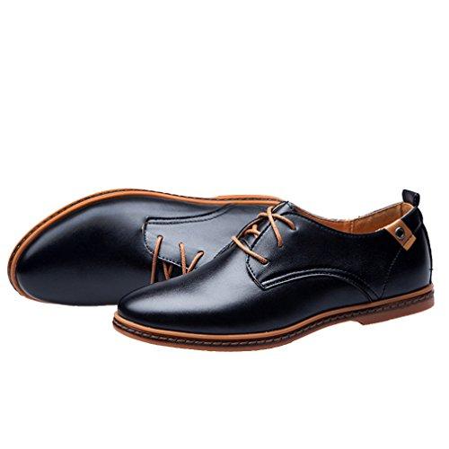Y-BOA Richelieu Derby à Lacet Chaussure de Ville Cuir Homme Perméable Bureau Style Anglais Noir