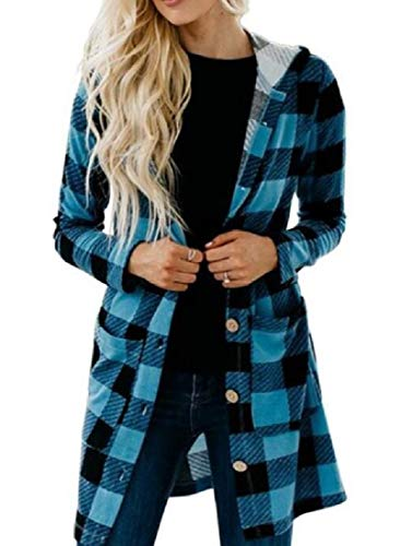 CuteRose Women Print Cardi Mid-Long Slim Hoode Plaid Long Trench Coat Blue XS (Double Breasted Pea Coat Dress)
